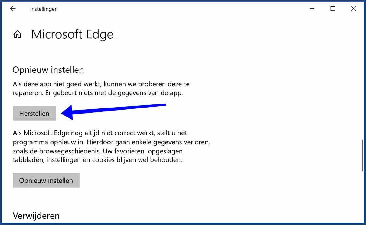 INET_E_RESOURCE_NOT_FOUND foutmelding Microsoft Edge - PC