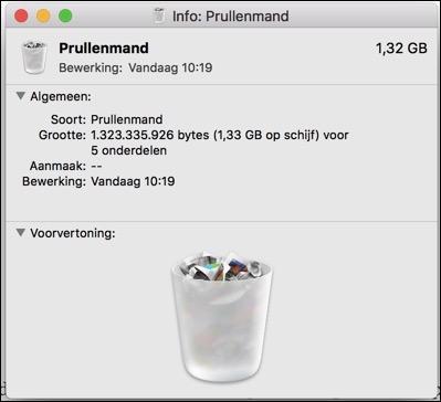prullenbank grootte informatie mac opstartschijf raakt vol
