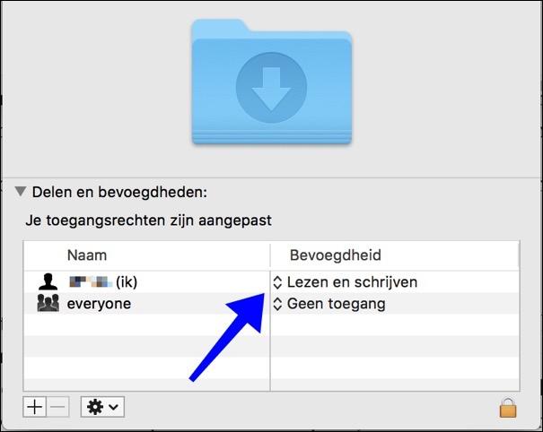 bevoegdheden folder mac