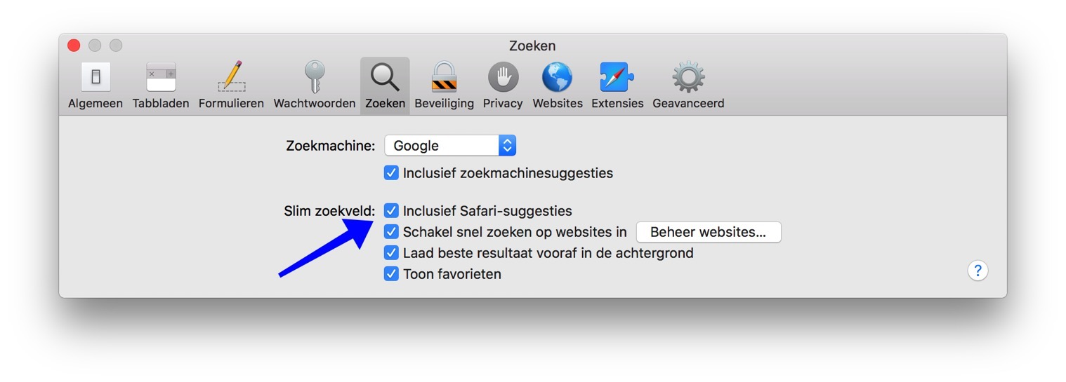 safari suggesties uitschakelen mac