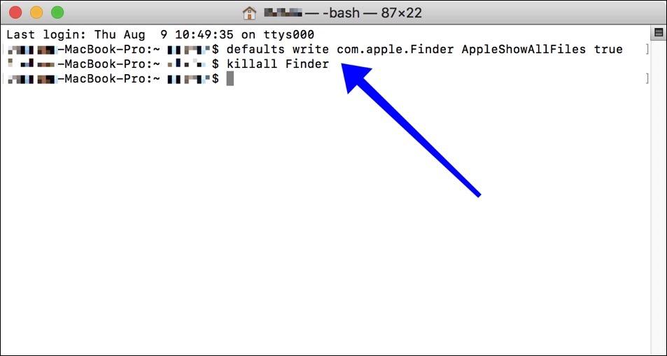 terminal verborgen bestanden weergeven mac