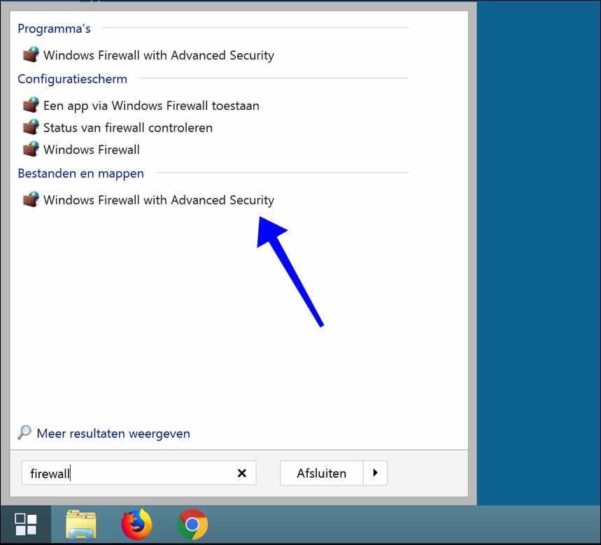 windows firewall instellingen openen