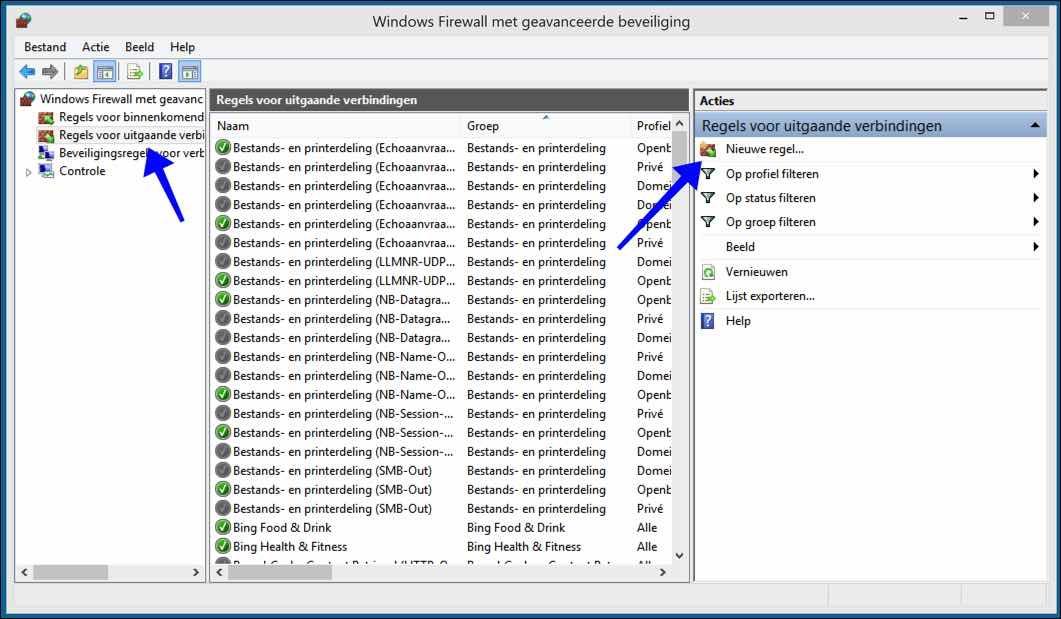 windows firewall regels voor uitgaande verbindindingen