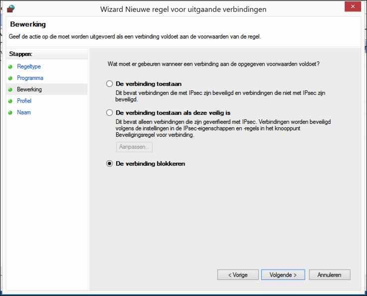 windows firewall uitgaande verbinding blokkeren