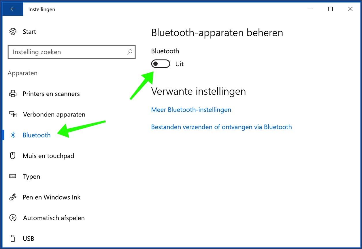 bluetooth aanzetten in instellingen windows 10