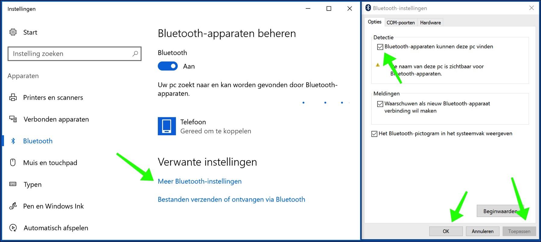 bluetooth apparaten beheren windows 10