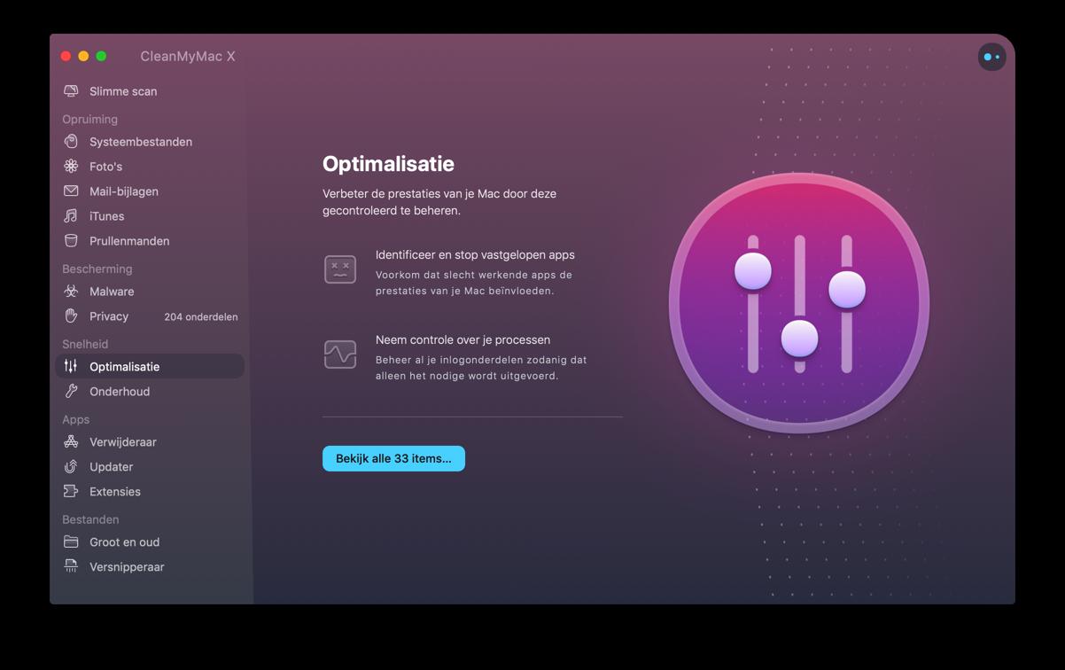 cleanmymac - optimalisatie
