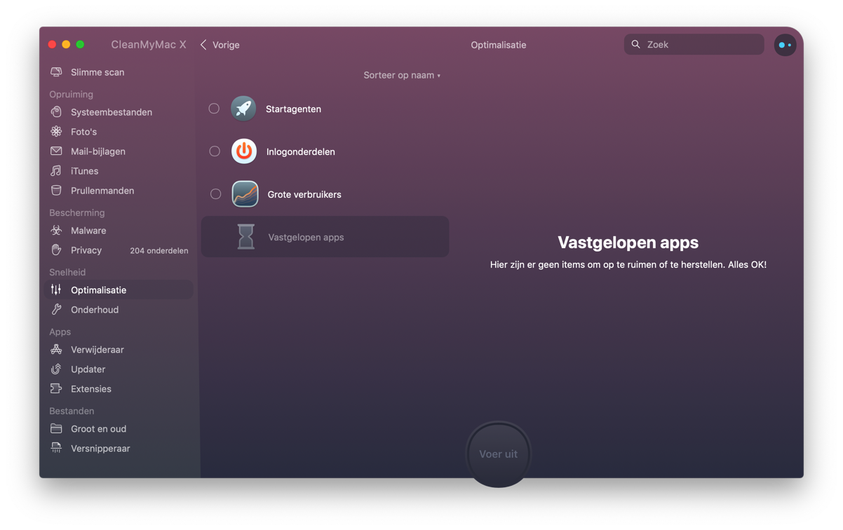 cleanmymac - vastgelopen apps