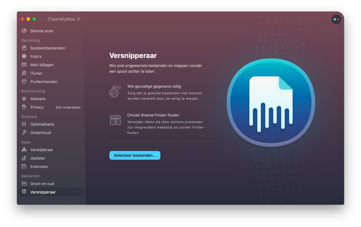 cleanmymac - versnipperaar