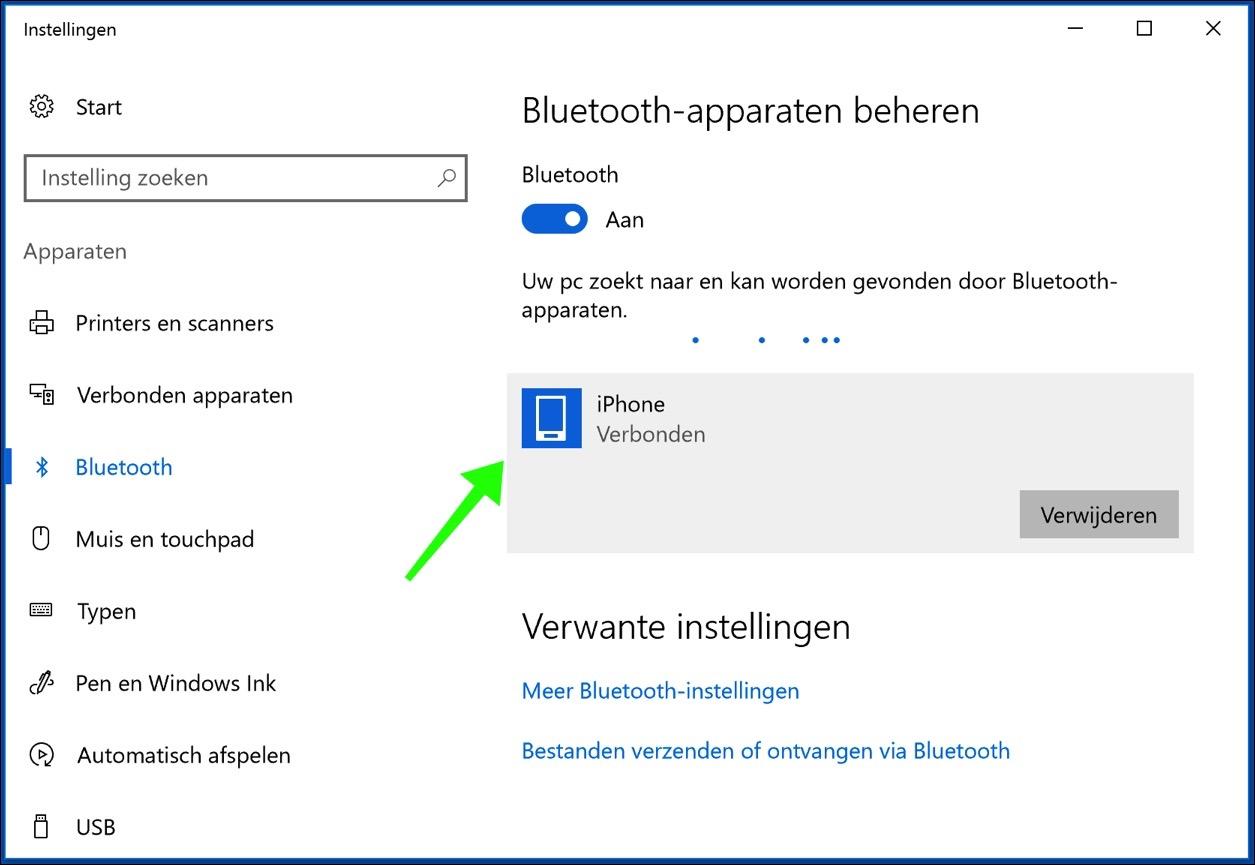 windows 10 bluetooth apparaat verbonden