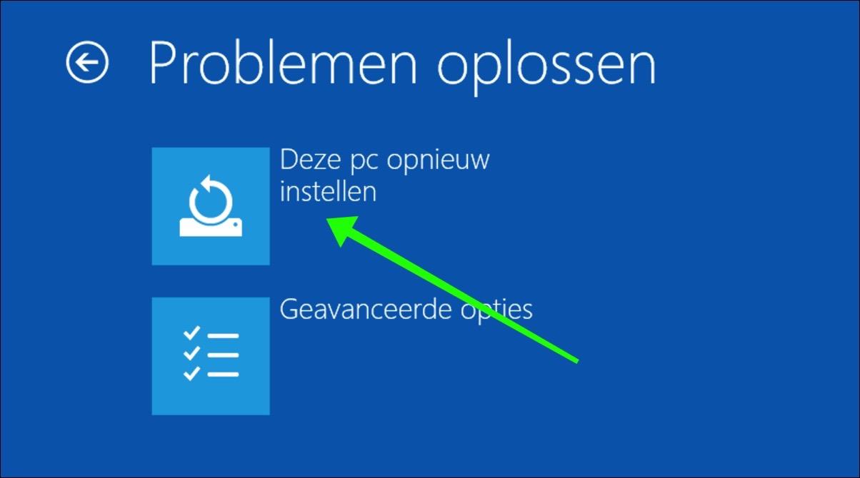 windows 10 installeren opnieuw instellen