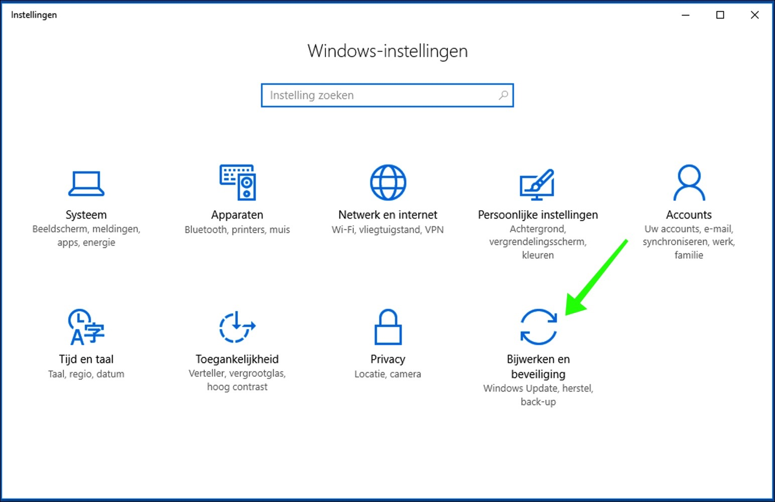 windows 10 instellingen
