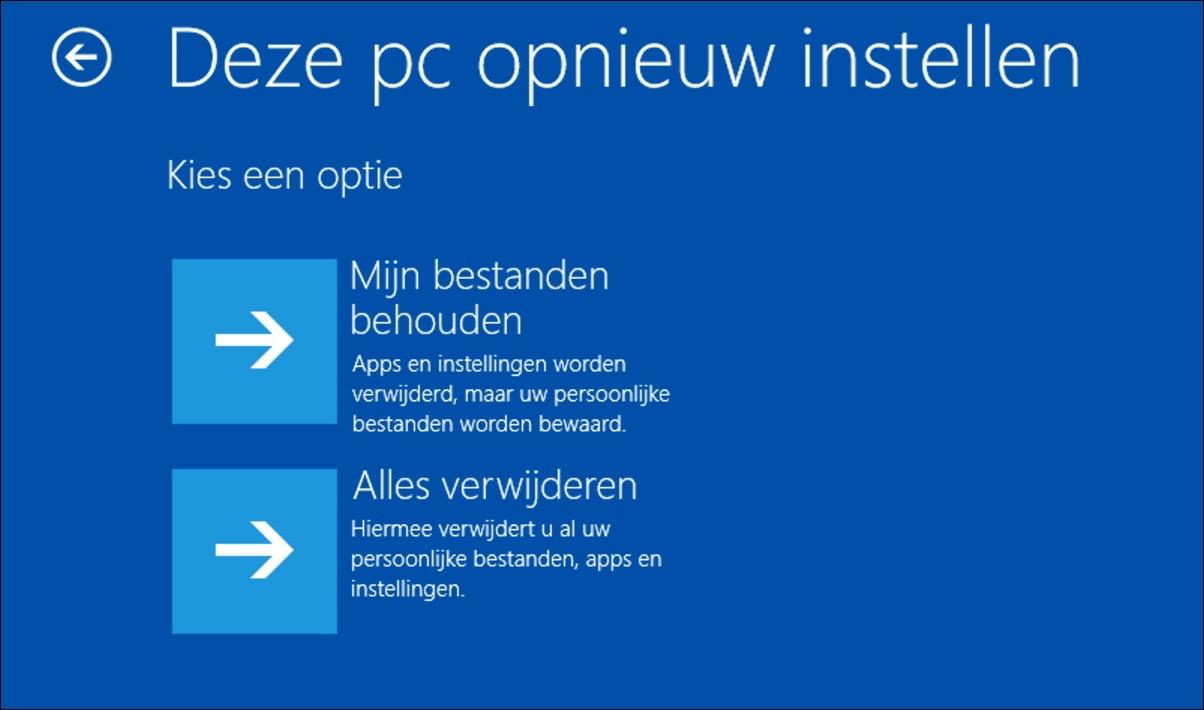 windows 10 opnieuw installeren bestanden behouden alles verwijderen