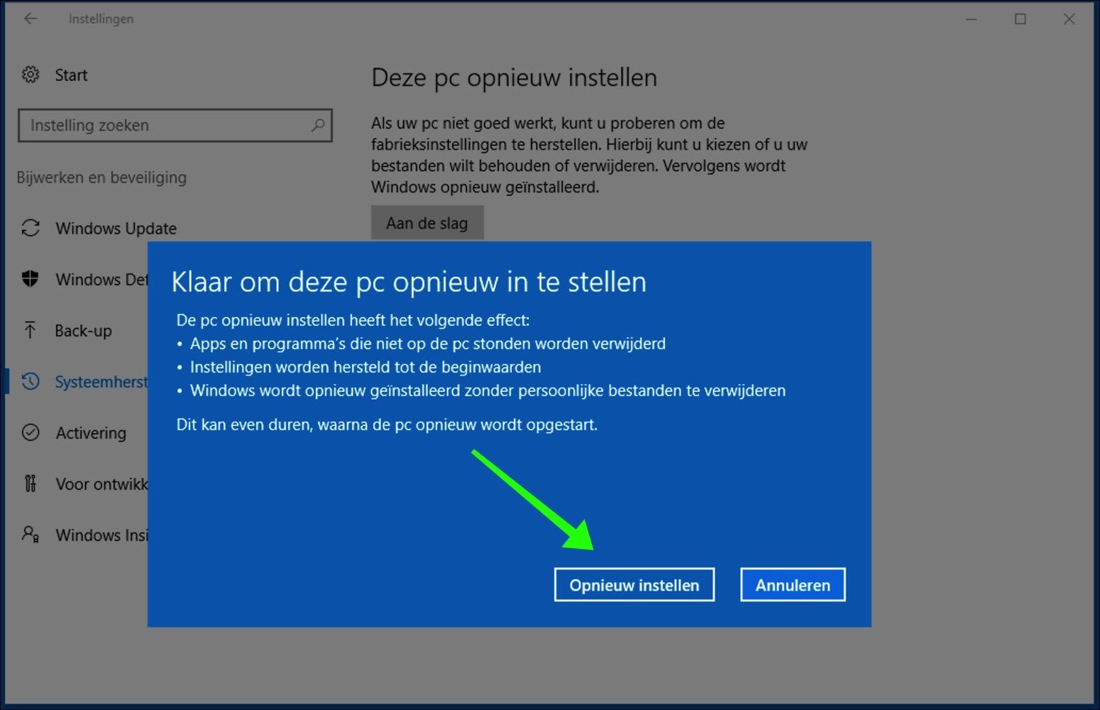 windows 10 opnieuw installeren bevestigen
