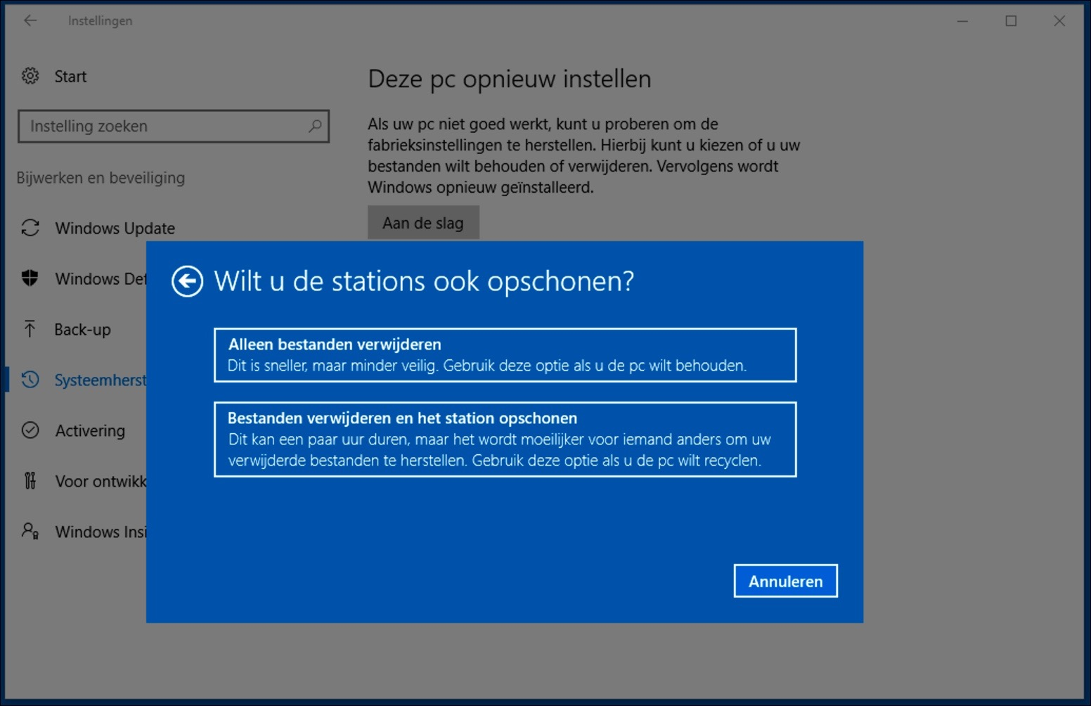 windows 10 opnieuw installeren stations opschonen