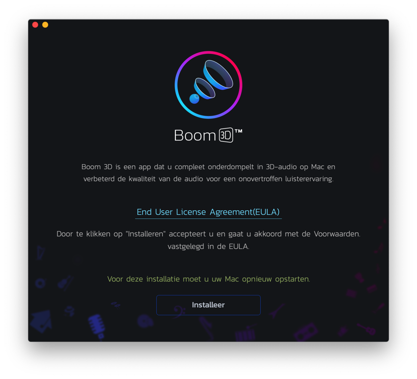 boom installeren mac volume verhogen