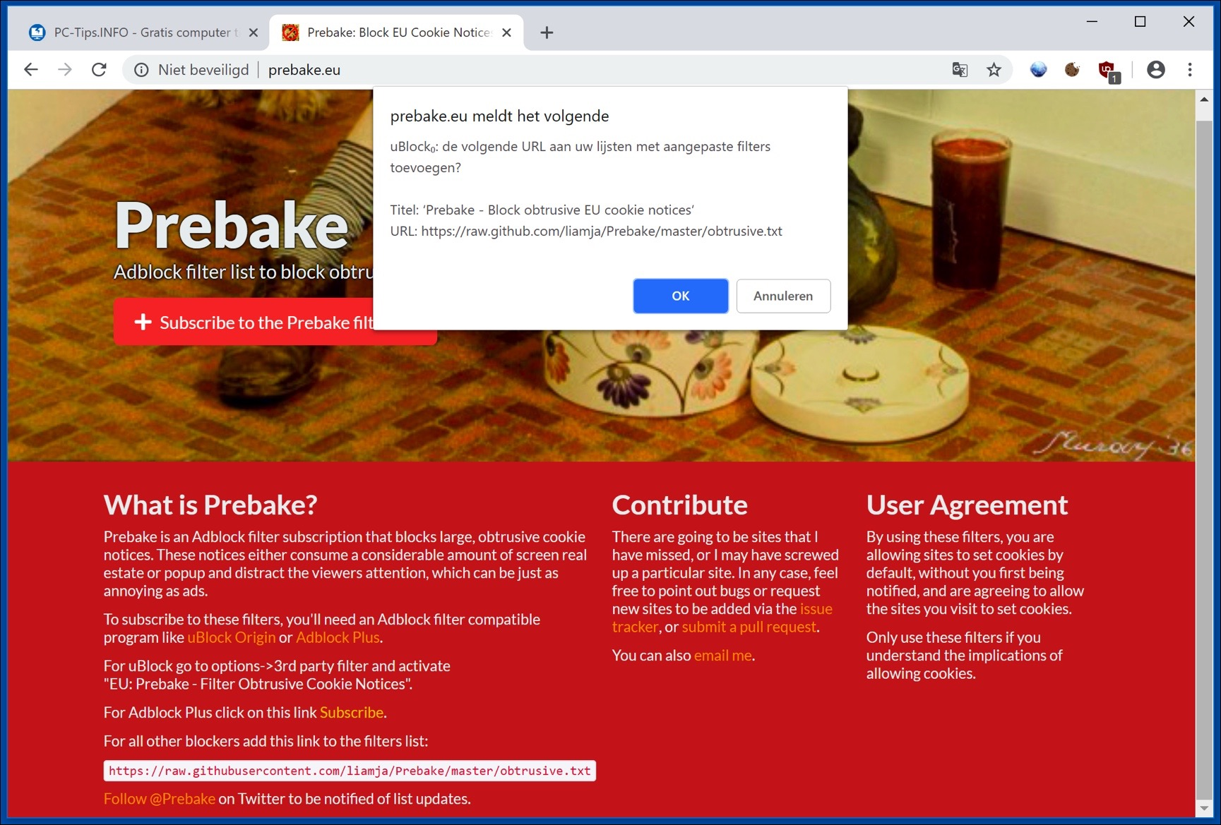 prebake ublock origin cookie filter toevoegen chrome