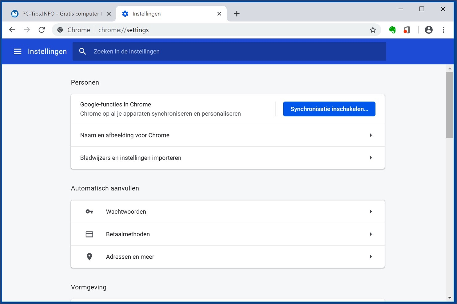 google chrome synchronisatie