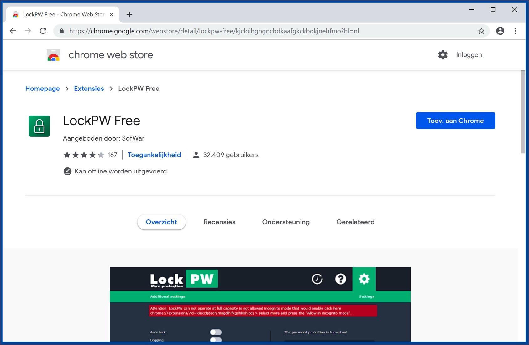 lockpw installeren google chrome