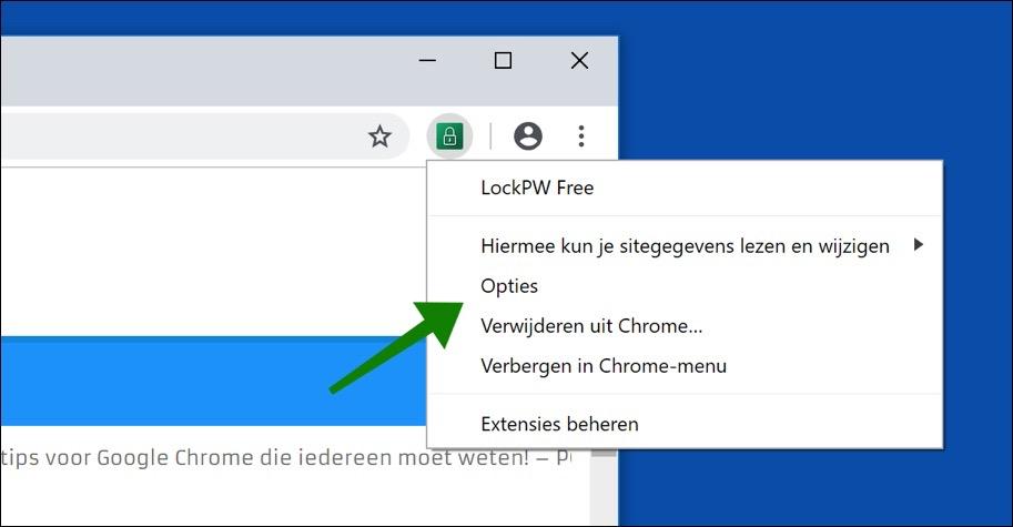 lockpw opties google chrome wachtwoord instellen
