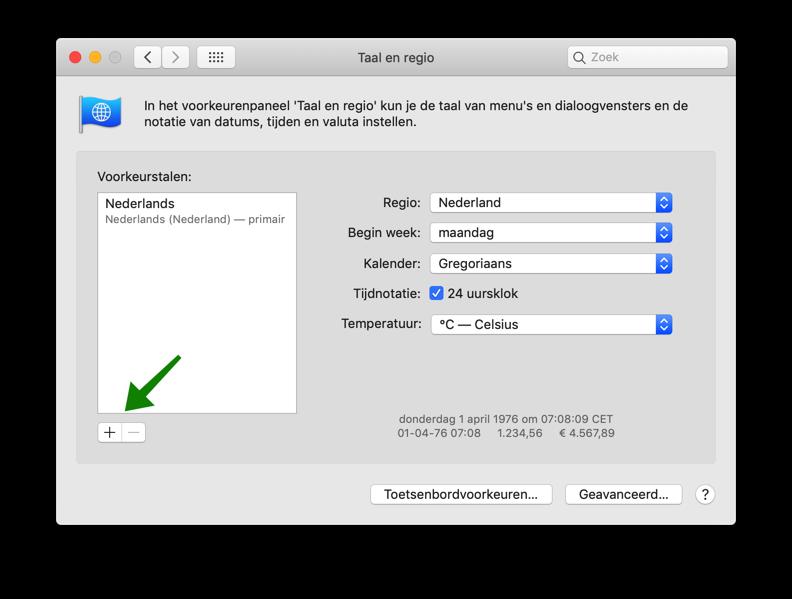 mac taal wijzigen toevoegen