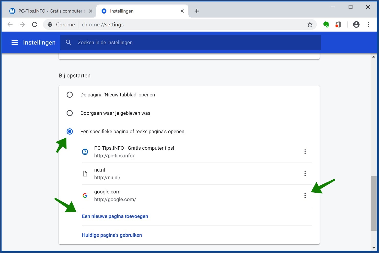 startpagina instellen google chrome
