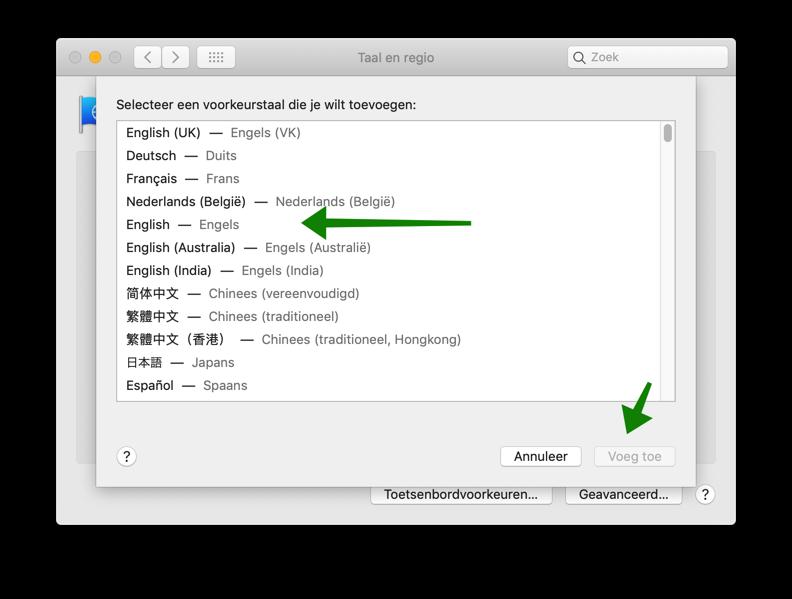 voeg nieuwe taal toe mac