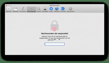 wachtwoorden gebruikersnaam beheren safari mac