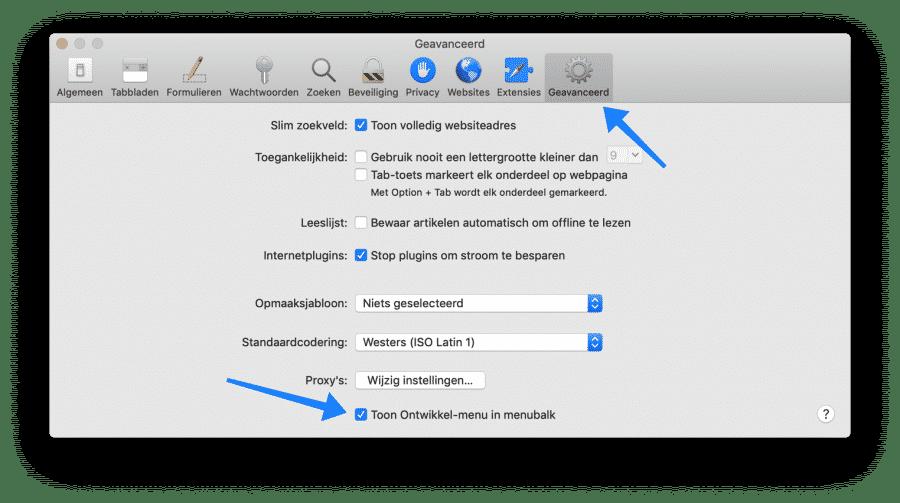 ontwikkelaars menu aanzetten safari voor trage mac