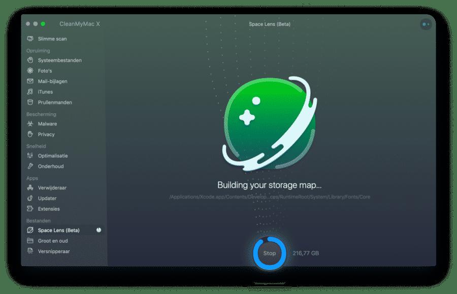 space lens mappen en bestanden scannen