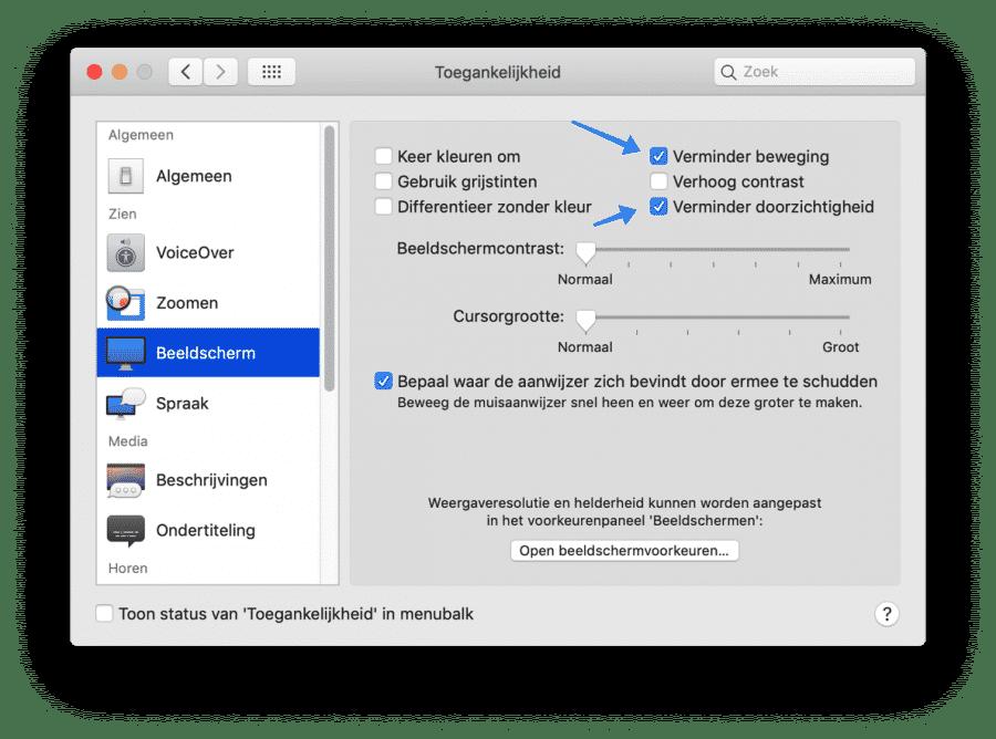 trage mac visuele onderdelen aanpassen