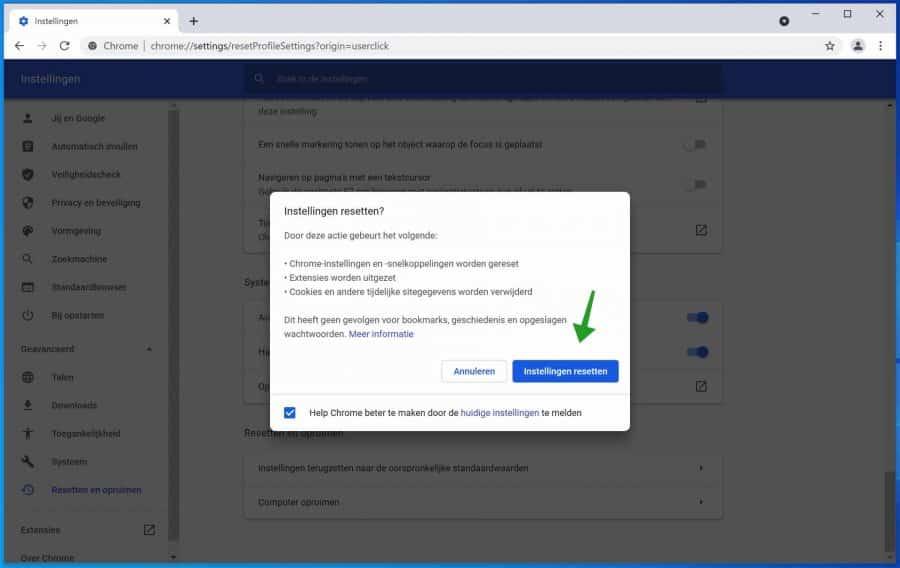 Chrome terugzetten naar standaard waarden Chrome reset