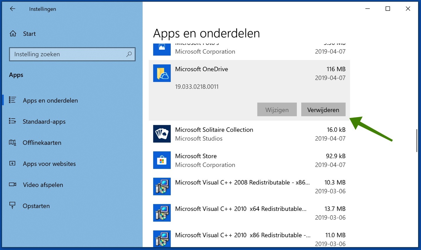 apps verwijderen windows 10