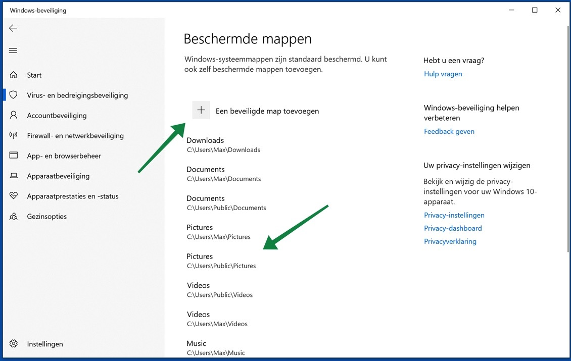 controlled folder access mappen toevoegen