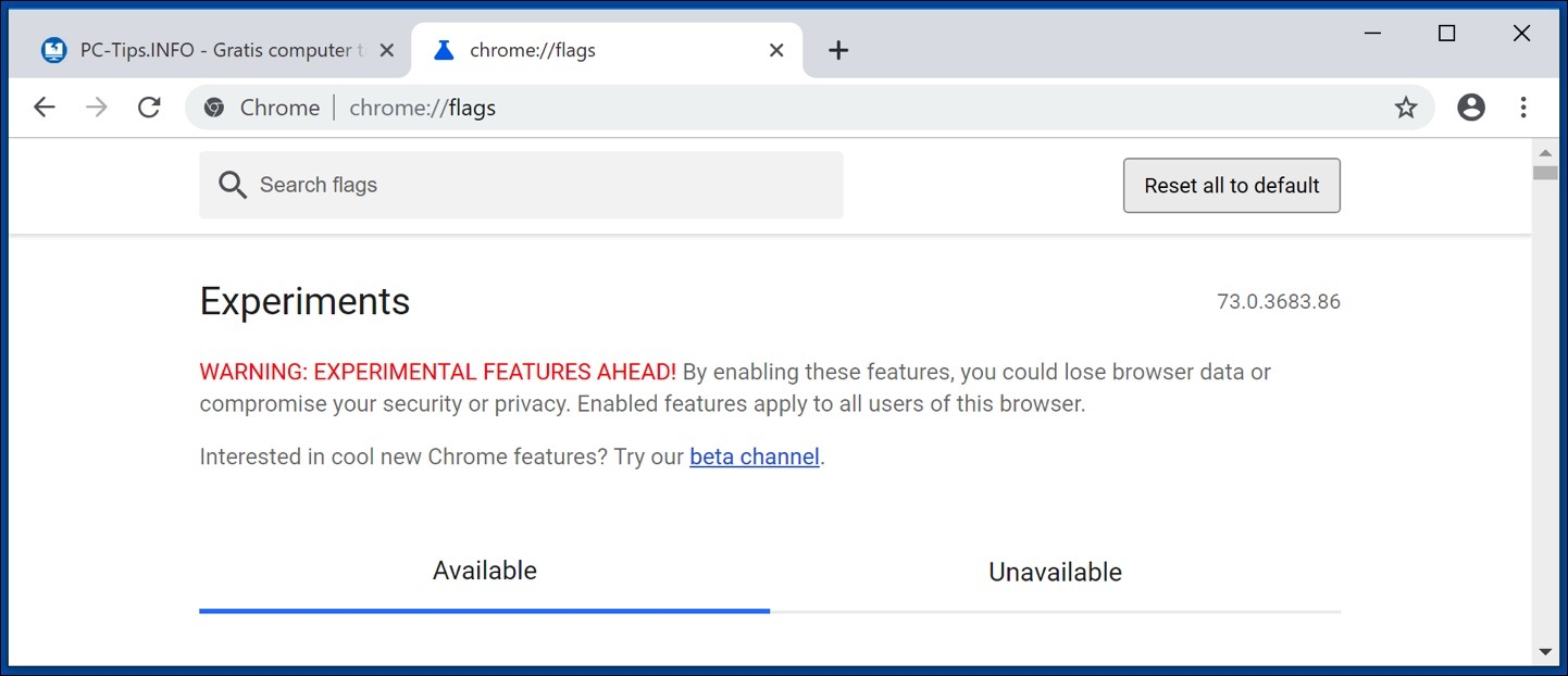 google chrome flags instellingen