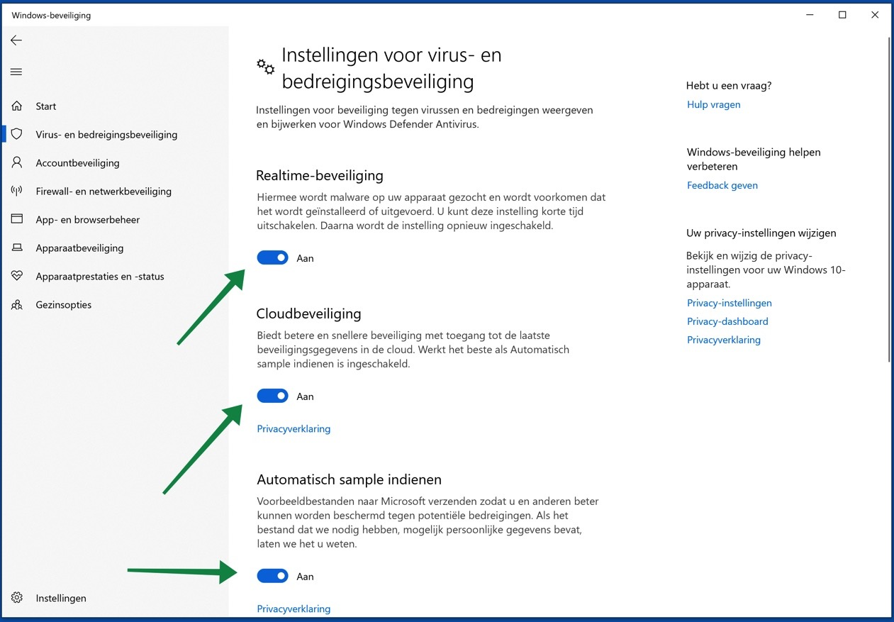 windows 10 antivirus realtime beveiliging cloudbeveiliging samples indienen
