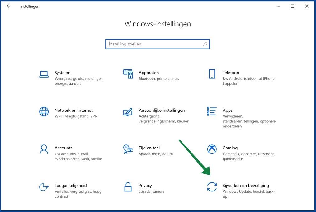 windows 10 bijwerken en beveiliging menu
