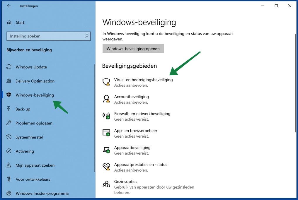 windows-beveiliging antivirus openen