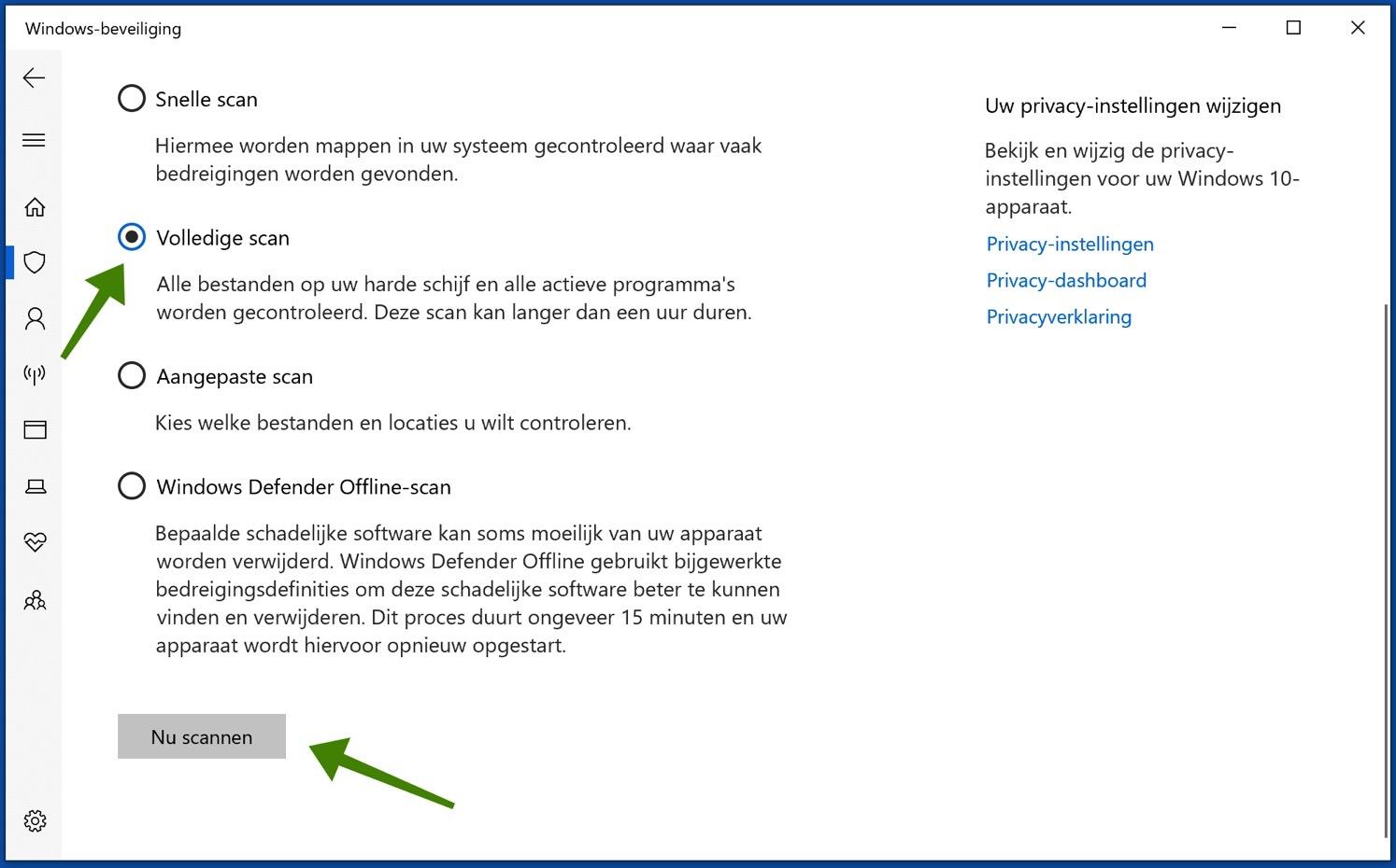 windows defender antivirus volledige scan
