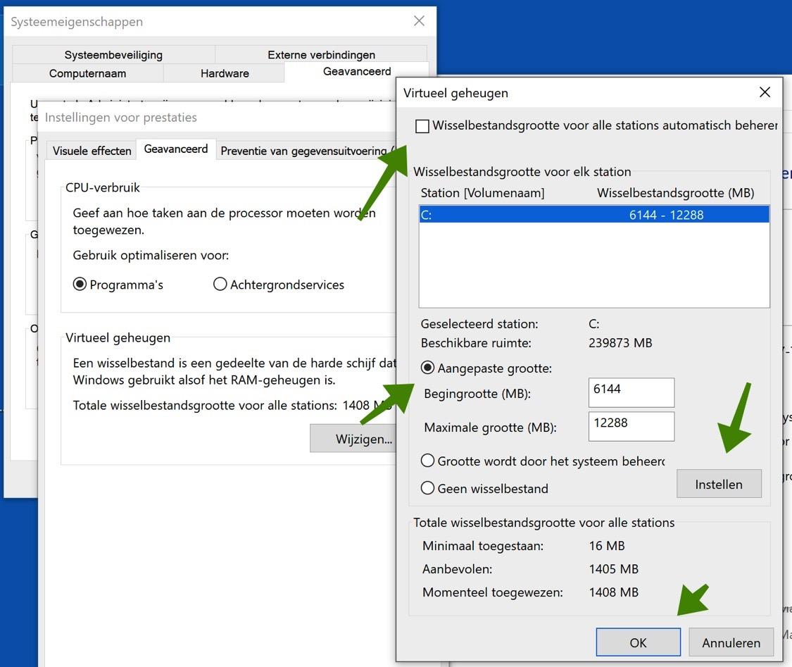 wisselbestanden paging file windows 10