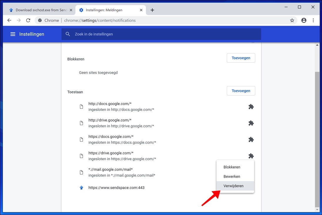 notificaties verwijderen google chrome