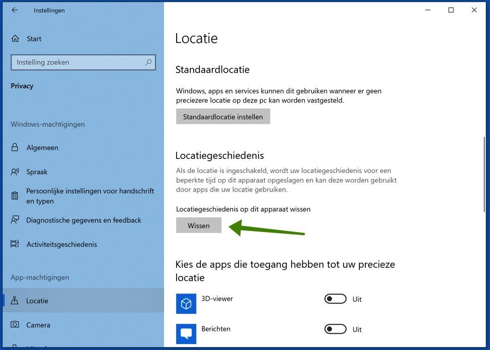 locatie wissen in windows 10
