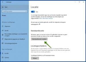 standaard locatie instellen windows 10