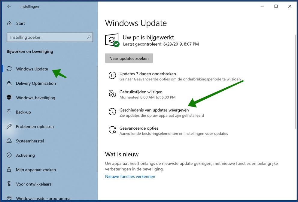 updategeschiedenis windows 10