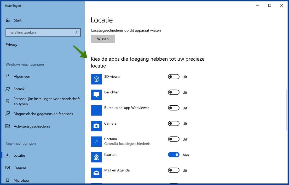 win10 applicaties toegang tot locatieservices