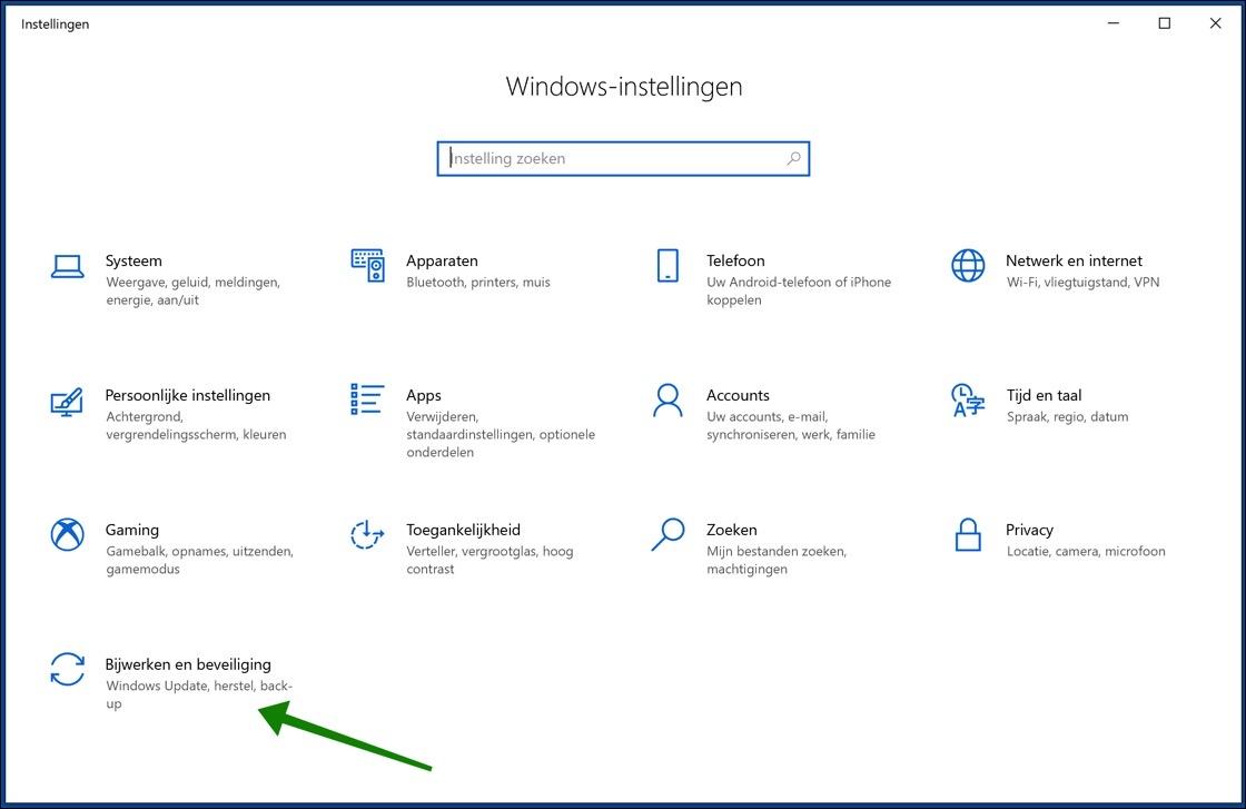 windows 10 update instellingen