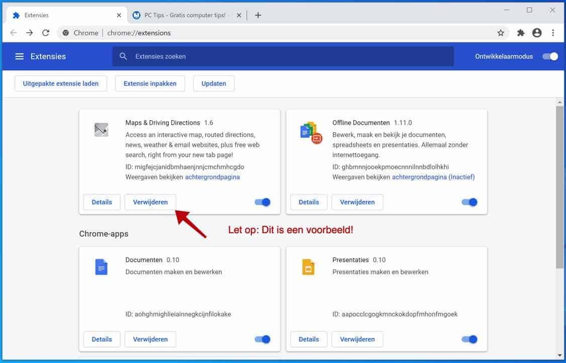 Yahoo extensie verwijderen google chrome