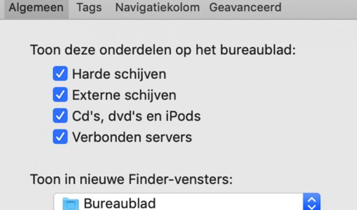 finder voorkeuren mac