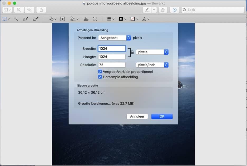voorvertoning mac - afbeelding grootte aanpassen