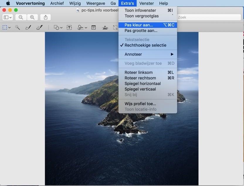 voorvertoning mac - afbeelding kleur aanpassen optimaliseren